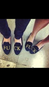 shoes,bad word,flats,penny loafers,fuck verb,black,black flats