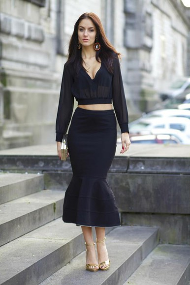 black skirt blogger top from brussels with love jewels clutch see through