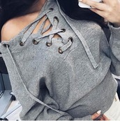 sweater,girl,girly,girly wishlist,grey,grey sweater,lace up,lace up jumper,knit,knitted sweater,tumblr,instagram