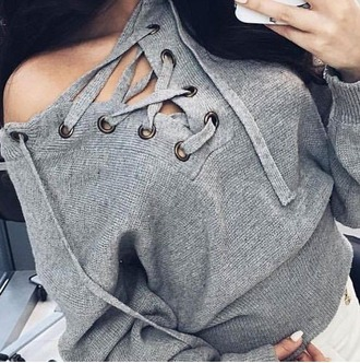 sweater girl girly girly wishlist grey grey sweater lace up lace up jumper knit knitted sweater tumblr instagram