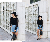 seams for a desire,blogger,sweater,skirt,shoes,bag,hat,t-shirt,jewels,denim skirt,black top,lace top,black lace top