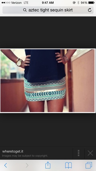 skirt aztec sequin shirt