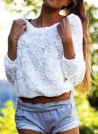 blouse white blouse shorts sweet cute