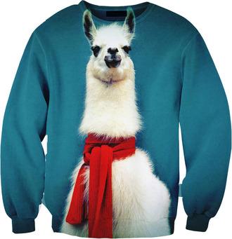 sweater llamas sweatshirt llama blue cute scarf sweatshirt funny hipster 2015