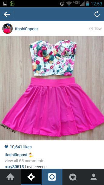 skirt pink skirt roses crop tops