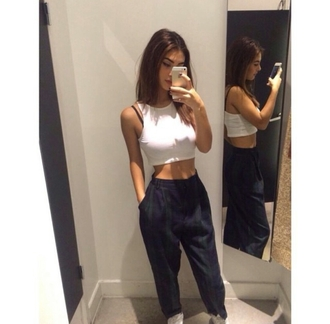 pants flannel top white top white crop top grunge pale alternative style on point clothing