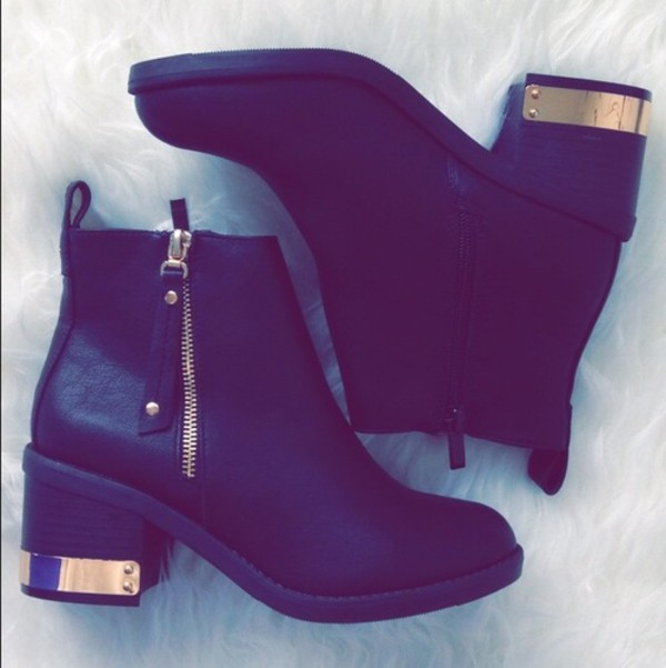 black boots ankle boots thick heel mid heel boots