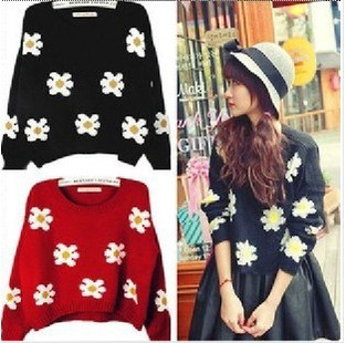 free shipping 2014 New Women Korean short paragraph sunflower daisy knit sweater wholesale-in Pullovers from Apparel & Accessories on Aliexpress.com