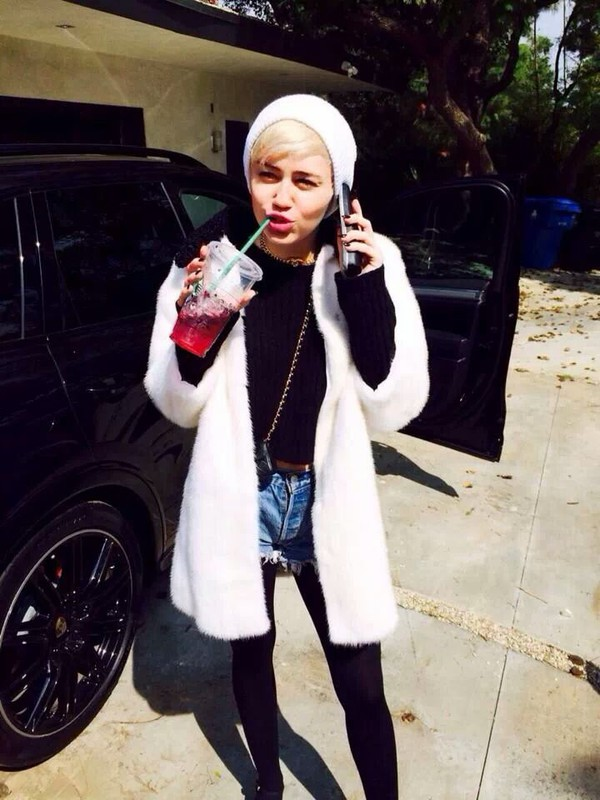 fur coat fur white coat miley cyrus
