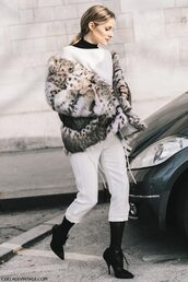jacket,tumblr,fur jacket,faux fur jacket,printed jacket,printed fur jacket,pants,white pants,tights,cropped pants,sweater,white sweater,olivia palermo,boots,black boots,lace up boots,pointed boots,high heels boots