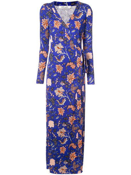 dress wrap dress women floral blue silk