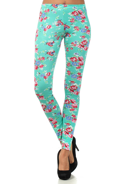 Green Leggings/Tights - Floral Leggings | UsTrendy