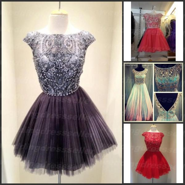 Buy real image ! bateau a line organza beads crystal short mini party dress sexy cocktail dress 2014, $129.06