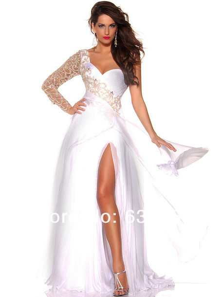 dress, white prom dress, prom dress, long prom dress, cute, one ...