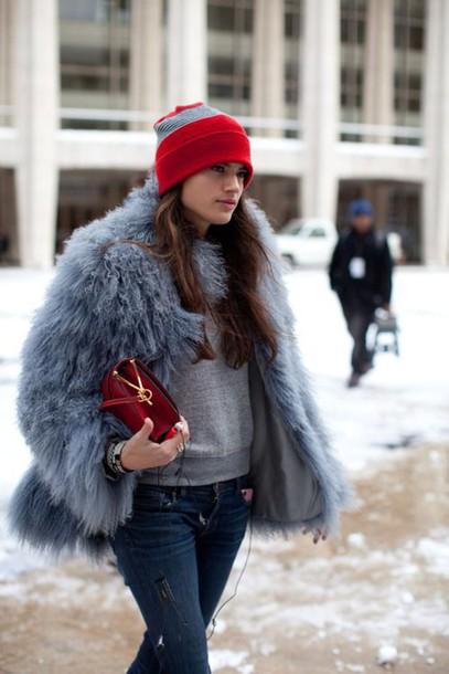 coat grey fur jacket tumblr blue fluffy coat blue coat fuzzy coat fluffy sweatshirt grey top grey beanie bag red bag denim jeans blue jeans winter outfits winter coat winter look