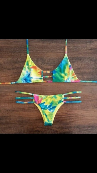 swimwear tie dye bathing suit top bikini pretty cute two-piece colorful rainbow sexy bikini