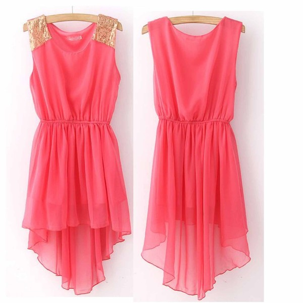 dress pink dress high low