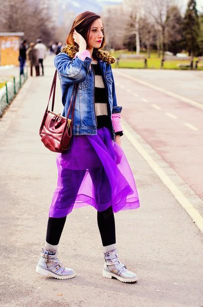 beauty insanity blogger striped sweater denim jacket purple red bag