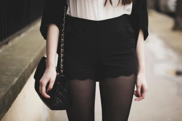 pants black pants shorts black shorts vintage chanel dark high waisted short high rise little black dress zooey deschanel new girl chanel bag black and white tights marilyn monroe