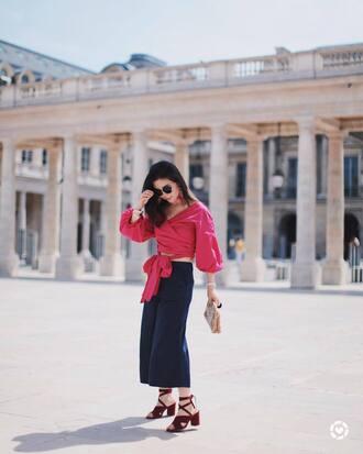 top tumblr red top wrap top crop tops pants blue pants culottes sandals sandal heels shoes