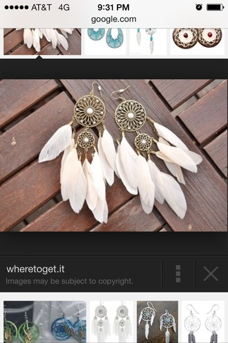 jewels dreamcatcher earrings with white feathers