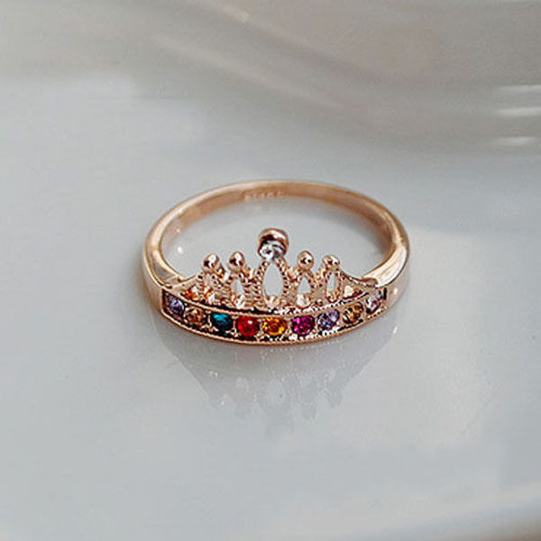 Fashion Shinny Colorful Crystal Rhinestone Golden Crown Ring Crown Finger Rings | eBay