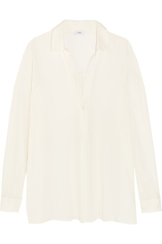 blouse silk white off-white top