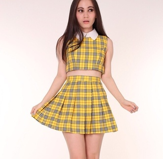 dress 90s style clueless vintage yeow yellow collar set skirt all in one matching set vest golf