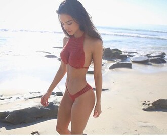swimwear bikini red crochet