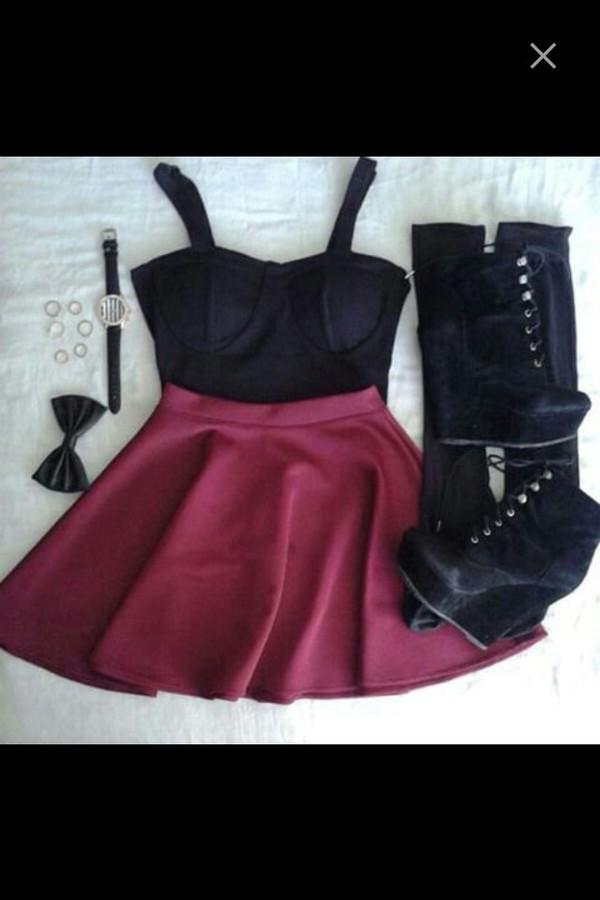 dress heels high heels bows skirt skater skirt skater dress corset top top crop tops outfit party party dress earphones shirt hipster