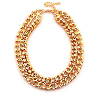 jewels golden necklace chain double chain rhinestones statement necklace choker necklace office outfits party