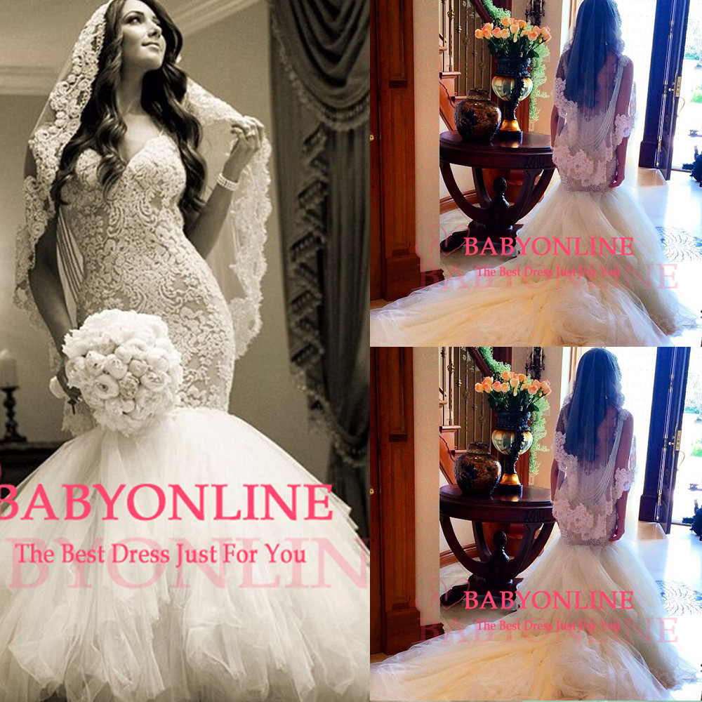 Aliexpress.com : Buy luxurious lace mermaid wedding dress spaghetti straps v neck backless sexy vestido noiva BO6371 from Reliable dress skull suppliers on Dress Just For You.