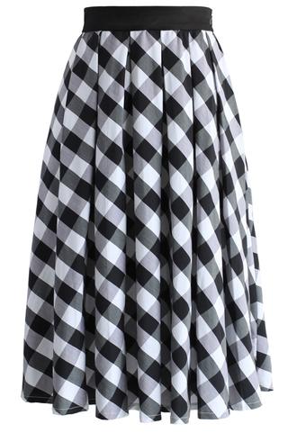 skirt retro plaid check midi skirt in black black skirt midi skirt check skirt plaid skirt retro skirt summer skirt