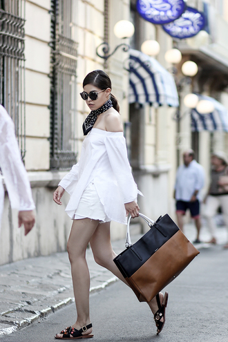 shoes jeweled sandals embellished sandals sandals flat sandals black sandals shorts white shorts top white top off the shoulder top bag brown bag sunglasses black sunglasses cat eye bandana fake leather blogger