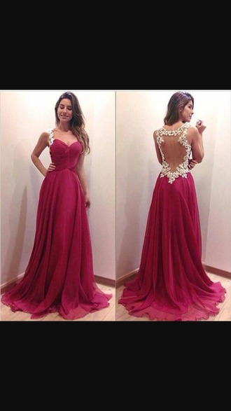 dress prom prom dress pink berry vintage goregous lace dress lace