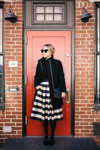 damsel in dior blogger skirt coat sweater tights shoes bag