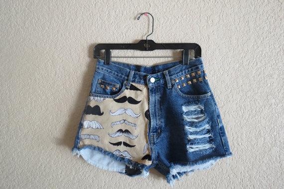 All sizes mustace high waisted denim shorts high door studsstripes