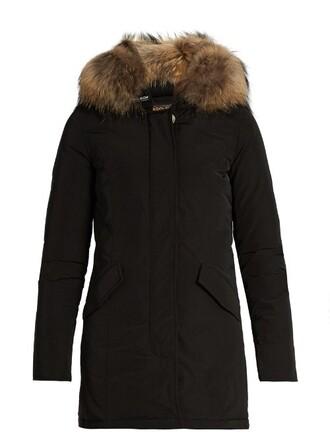 parka fur luxury black coat