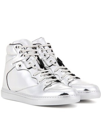 metallic high sneakers leather silver shoes
