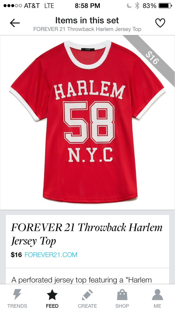 top throwback harlem red hipster