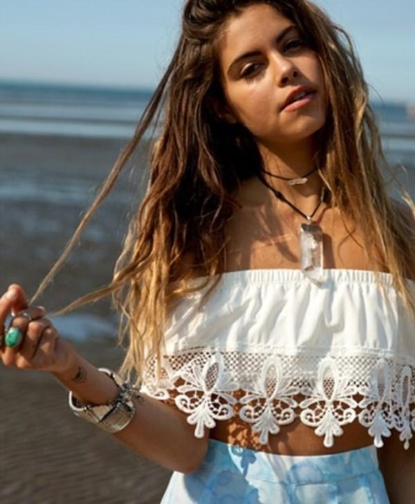 blouse hippie white summer crop  top. crochet lace
