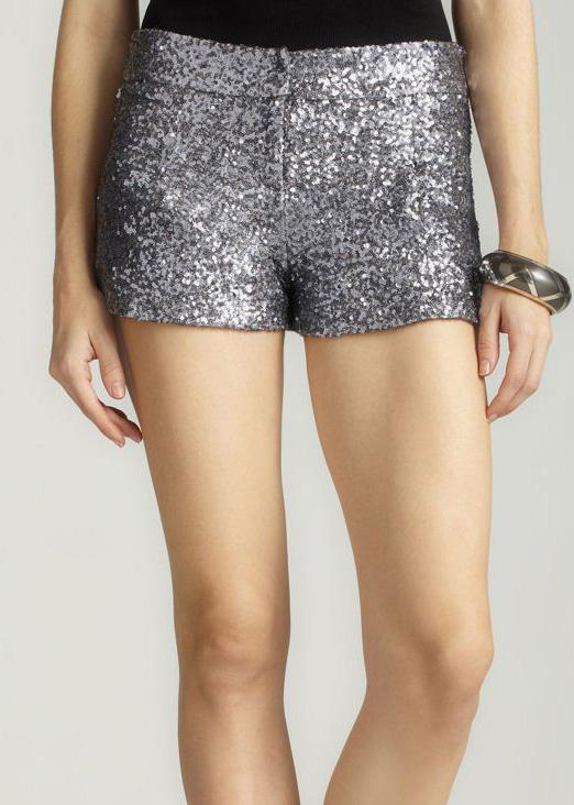 Forever 21 Black Metallic Silver Sequined Fashion Mini Short Hot Pants XS L | eBay
