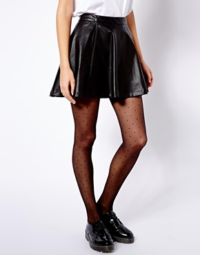 great discount sale run shoes sleek Pull & Bear | Pull&Bear Leather Look Skater Skirt at ASOS