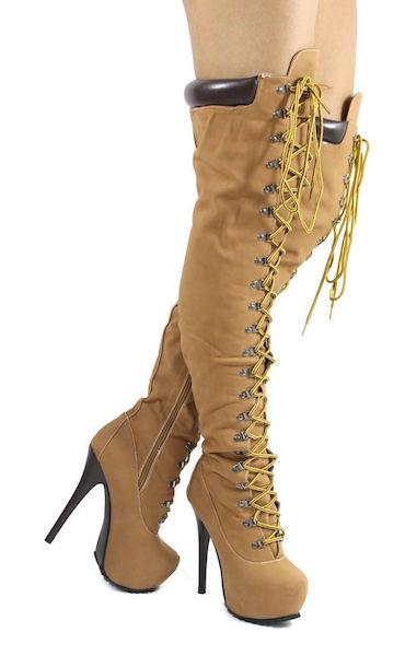 High Stiletto Workboots – Wheat : Glamorous and Fabulous |