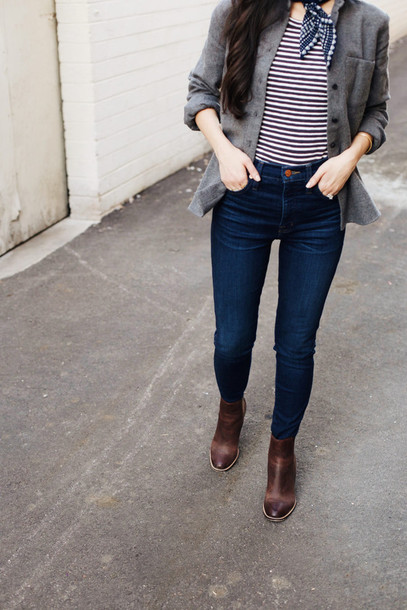 Jeans Tumblr Blue Jeans Skinny Jeans Top Stripes Striped Top