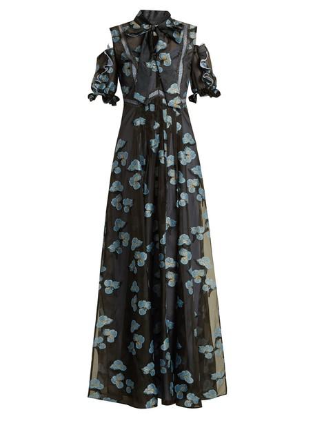 self-portrait dress open floral blue