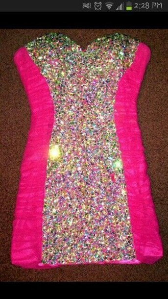 dress pink blingy very blingy rhinestones