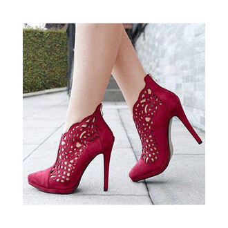 shoes red heels sexy cut out shoes burgundy red shoes high heels sexy shoes coral red hollow out