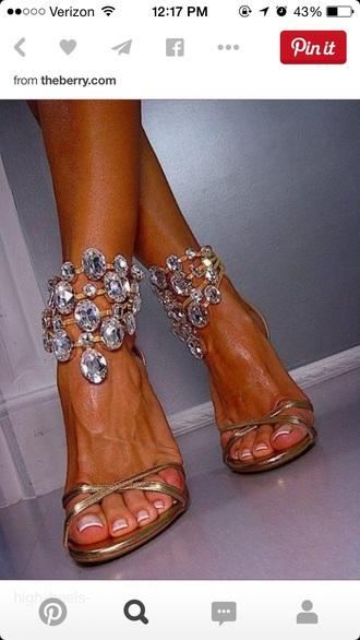 shoes high heels gold sequins gold heels rhinestones diamonds
