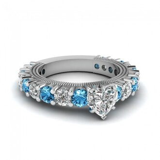 jewels evolees evolees.com 18k white gold plating heart shaped diamond side stone ring with ice blue topaz heart shaped diamond engagement ring ice blue sapphire ring